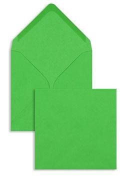 FARBIGE BRIEFUMSCHLÄGE GRÜN (FRÜHLINGSGRÜN) 130 X 130 MM | 100 G/QM OFFSET | OHNE FENSTER | NASSKLEBUNG | SPITZE KLAPPE | 100 STÜCK