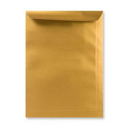 FARBIGE BRIEFUMSCHLÄGE GOLD 229 x 324 mm (DIN C4) | 120 g/qm Offset | Ohne Fenster | Haftklebung | Gerade Klappe | 100 Stück
