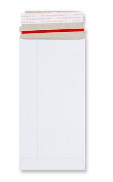 WEISSE VOLLPAPPTASCHEN 110 X 220 MM (DIN Lang) MIT AUFREISSBAND | 350 G/QM KARTON | OHNE FENSTER | HAFTKLEBUNG | GERADE KLAPPE | 50 STÜCK