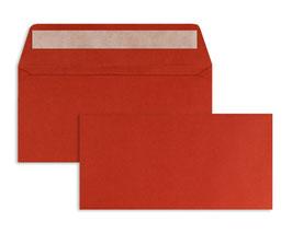 FARBIGE BRIEFUMSCHLÄGE HELLROT 110 x 220 mm (DIN Lang) | 100 g/qm Offset | Ohne Fenster | Haftklebung | Gerade Klappe | 100 Stück