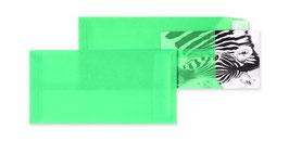 FARBIGE TRANSPARENT-VERSANDTASCHEN GRÜN 110 X 220 MM (DIN LANG) | 100 G/QM ZANDERS SPEKTRAL | OHNE FENSTER | HAFTKLEBUNG | GERADE KLAPPE | 100 STÜCK