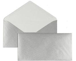 FARBIGE BRIEFUMSCHLÄGE SILBER 110 x 220 mm (DIN Lang) | 90 g/qm Offset | Ohne Fenster | Nassklebung | Spitze Klappe | 100 Stück