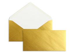 FARBIGE BRIEFUMSCHLÄGE GOLD 110 X 220 MM (DIN LANG)   90 G/QM OFFSET   OHNE FENSTER   NASSKLEBUNG   SPITZE KLAPPE   100 STÜCK