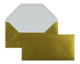 FARBIGE BRIEFUMSCHLÄGE GOLD 110 x 220 mm (DIN Lang) | 100 g/qm Offset | Ohne Fenster | Nassklebung | Trapezklappe | 100 Stück