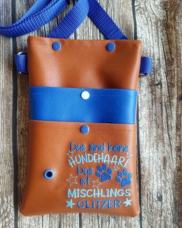 Gassi Tasche Mischlings Glitzer Leder Braun/Blau