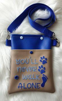 Gassi Tasche klein You`ll never walk alone Beige/Blau