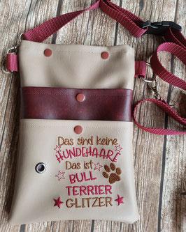 Gassi Tasche Bull Terrier Glitzer Leder Beige/Bordeaux