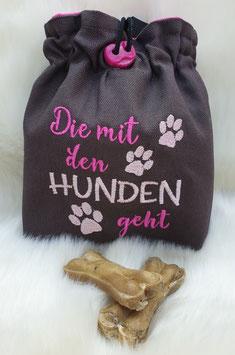 Leckerlibeutel Die mit den Hunden geht dunkel grau/pink