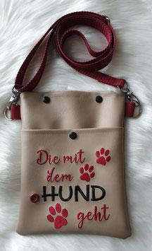 Gassi Tasche klein Die mit dem Hund geht Beige/ Bordeauxrot