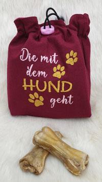 Leckerlibeutel Die mit dem Hund geht Bordeauxrot/Rosa/Senfgelb