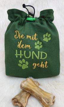 Leckerlibeutel Die mit dem Hund geht Dunkelgrün/Senfgelb/Hellgrün