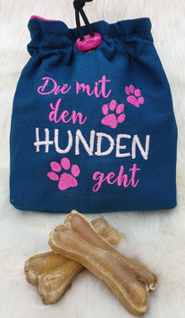 Leckerlibeutel Die mit den Hunden geht Aquamarin/pink