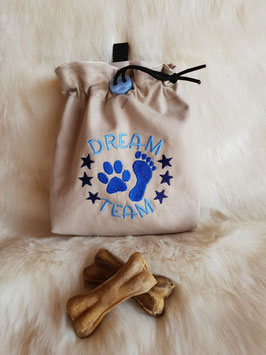 Leckerlibeutel Dream Team beige/blau