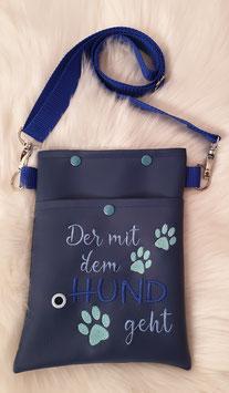 Gassi Tasche klein Der mit dem Hund geht Dunkel/Hellblau