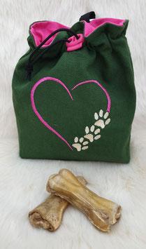 Leckerlibeutel Herz mit Pfoten Dunkelgrün/Pink