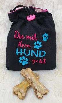 Leckerlibeutel Die mit dem Hund geht Schwarz/Pink/Türkis