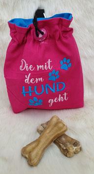 Leckerlibeutel Die mit dem Hund geht Pink/Türkis/Rosa