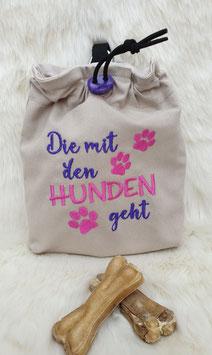Leckerlibeutel Die mit den Hunden geht Beige/Lila/Pink