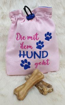 Leckerlibeutel Die mit dem Hund geht Rosa/Pink/Blau