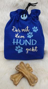Leckerlibeutel Der mit dem Hund geht Blau/Hellblau