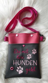 Gassi Tasche klein Die mit den Hunden geht Grau/Pink
