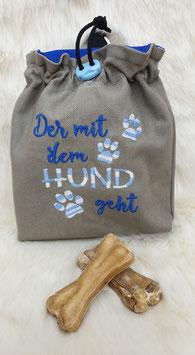 Leckerlibeutel Der mit dem Hund geht Grau/Blaufarbverlauf