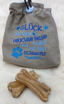 Leckerlibeutel Glück hat.... Hellgrau/Blau