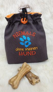 Leckerlibeutel Niemals ohne meinen Hund Dunkelgrau/Orange/Türkis