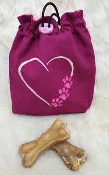Leckerlibeutel Herz mit Pfoten Pink/Rosa