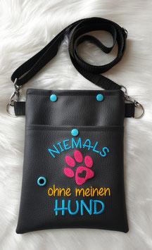 Gassi Tasche klein Niemals ohne meinen Hund Schwarz/Türkis