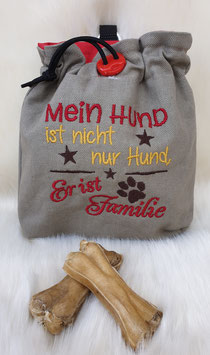 Leckerlibeutel Mein Hund ist Familie Hellgrau