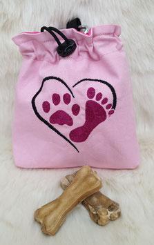 Leckerlibeutel Herz/Pfote/Fuß Rosa/Pink