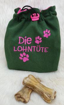 Leckerlibeutel Die Lohntüte Dunklegrün/Pink