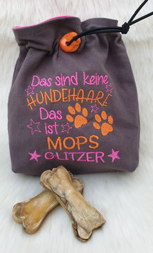 Leckerlibeutel Mopsglitzer Orange/Pink