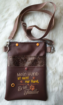 Gassi Tasche Hund ist Familie Leder Dunkelbraun/Relief