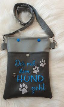 Gassi Tasche klein Der mit dem Hund geht Grau/Blau