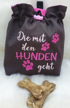 Leckerlibeutel Die mit den Hunden geht dunkel grau/pink/rosa