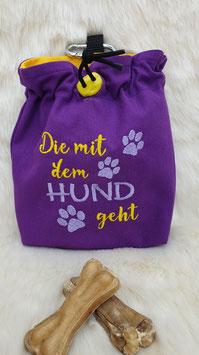 Leckerlibeutel Die mit dem Hund geht Lila/Gelb/Flieder