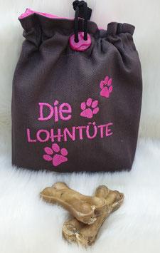 Leckerlibeutel Die Lohntüte Dunkelgrau/Pink