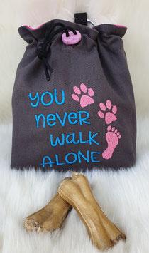 Leckerlibeutel Never walk alone Dunkelgrau/türkis