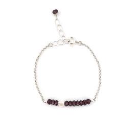 Valentina Bracelet Silver & Burgundy