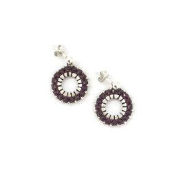 Circle Earrings Silver & Burgundy
