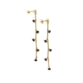Katrina Earrings Gold & Burgundy