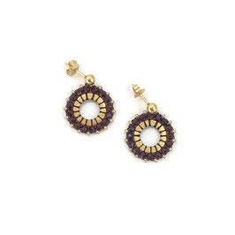 Circle Earrings Gold & Burgundy