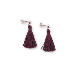 Helen Earrings Silver & Burgundy