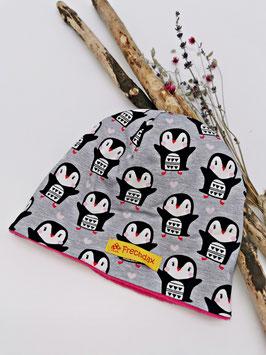 Winter Beanie Pinguin Grau