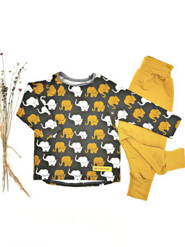 Baby Set mit Hose Elefanten Grau / Senf
