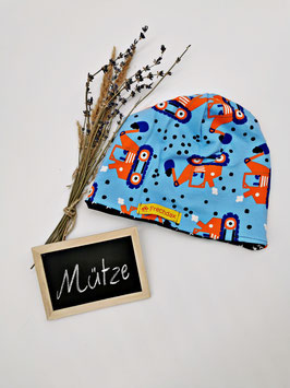 Kindermütze Beanie Bagger Hellblau Orange