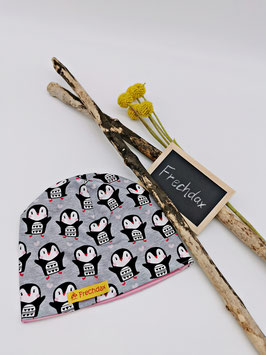 Kinder Mütze Beanie Pinguin Grau
