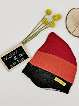 Walkmütze Rot/Orange/Dunkelgrau